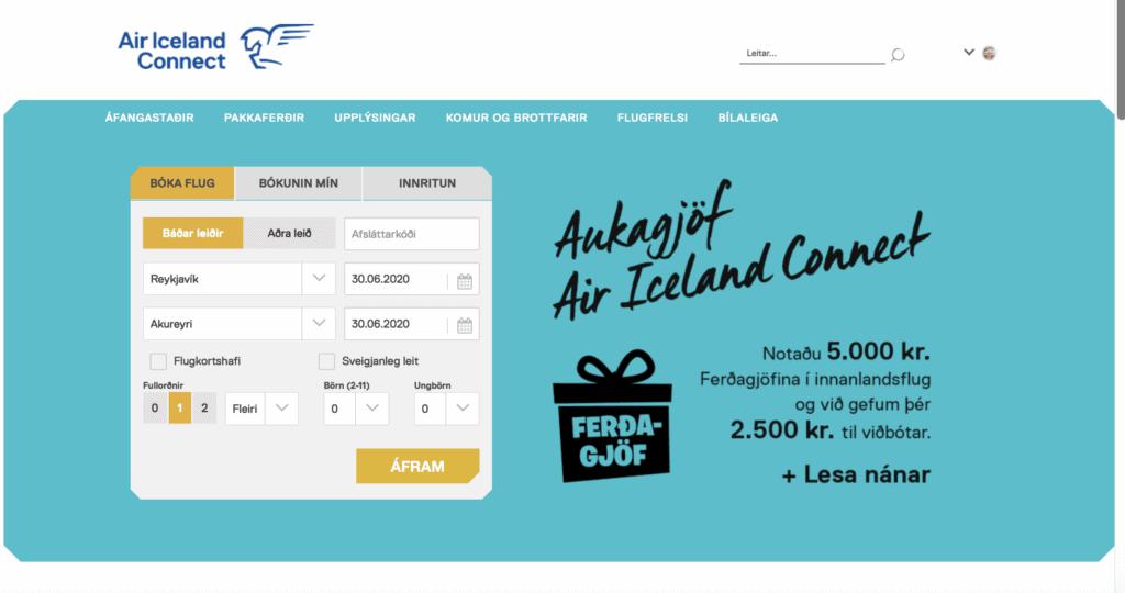 Promocja Air Iceland Connect, zachęcająca do wykorzystania bonu turystycznego właśnie u nich.