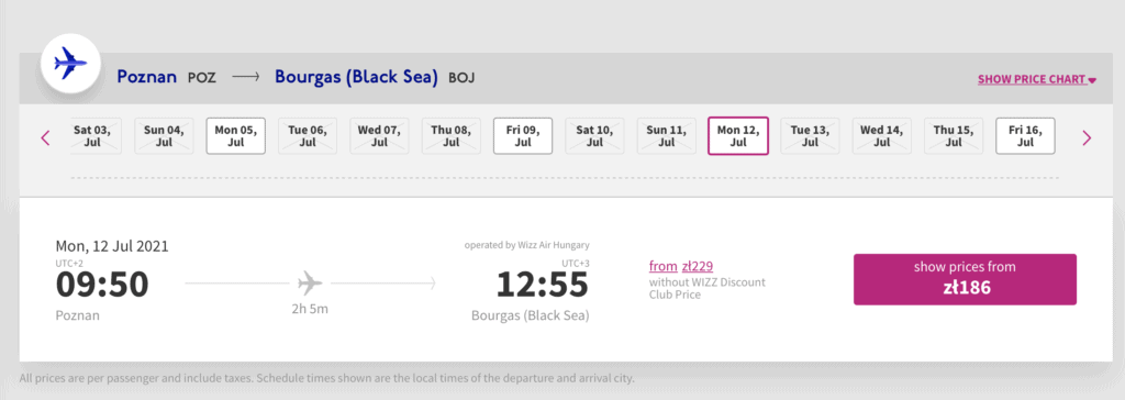 Przykładowa cena biletu linii Wizz Air z Poznania do Burgas - 186zł w jedną stronę.