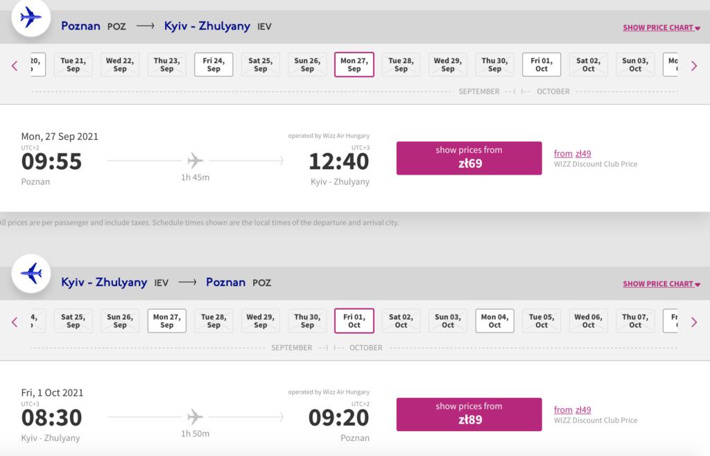 Przykładowe ceny biletów linii Wizz Air z Polski do Kijowa.