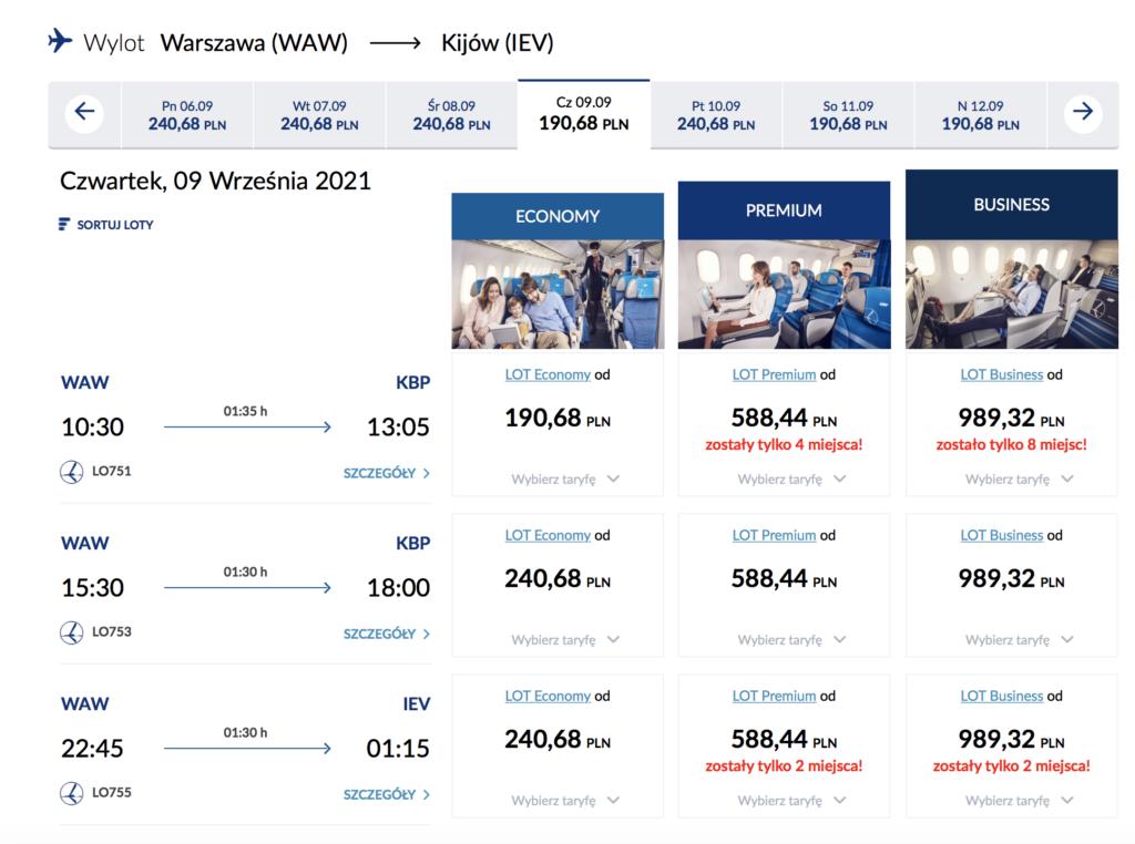 Przykładowa cena lotów do Kijowa na pokładzie Polskich Linii Lotniczych LOT