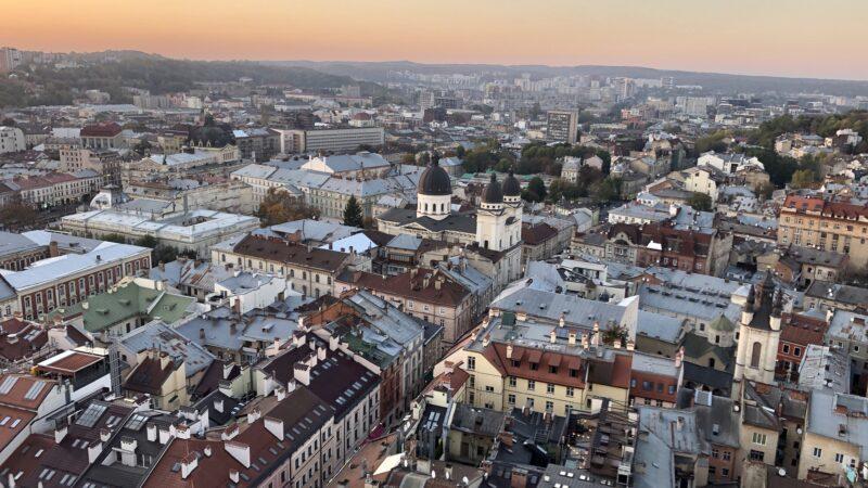 Lwów, Ukraina. Widok z wieży Ratusza,